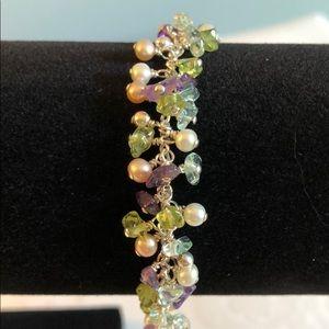 Stunning SS Semiprecious Stones and Pearl Bracelet
